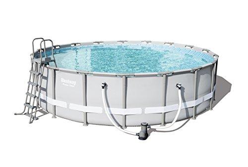 Bestway Power Steel Frame Pool Komplettset rund, mit Kartuschenfilterpumpe, Leiter, Boden- & Abdeckplane, 549x132 cm, grau
