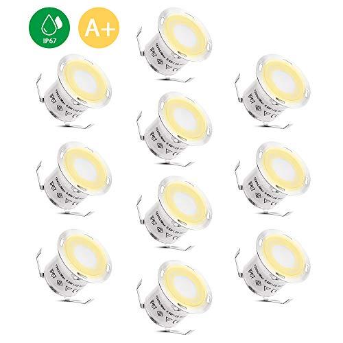 LED-Einbaustrahler BRIGENIUS 10 Stück LED-Bodeneinbauleuchte, IP67 wasserdicht 3200K Warmweiß DC12V 32mm Deckenstrahler Außenleuchten für Küchentreppe Balkon Terrasse