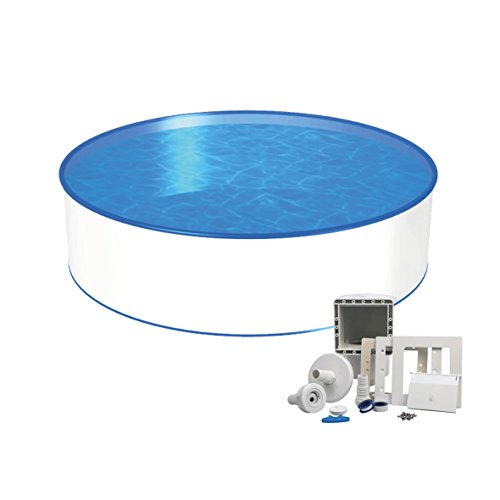 Medipool Stahlwand Pool Ø 4,00m Tiefe 1,20m, Stahlmantel & Innenfolie 0,6mm mit Einbauskimmer